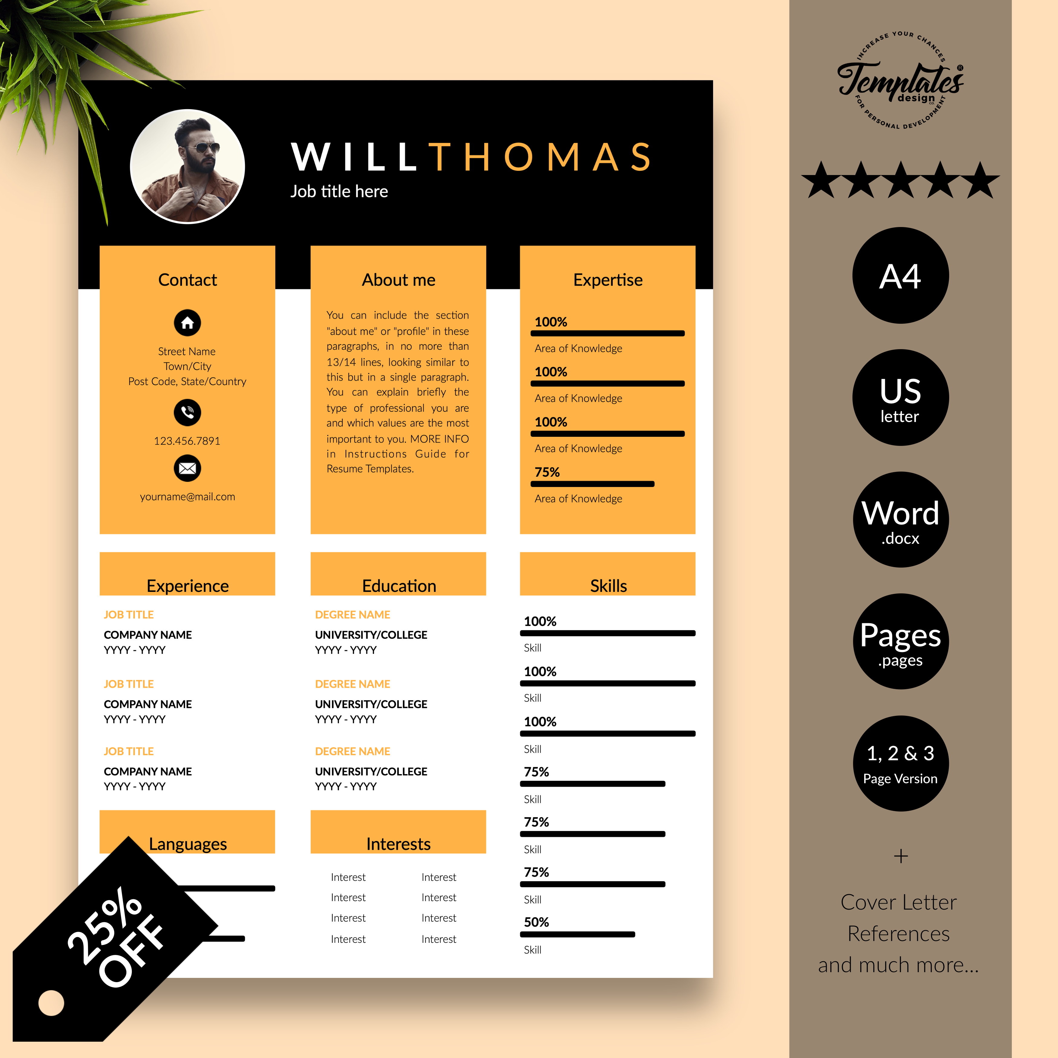 Creative Modern Resume Template With Photo Professional Cv Etsy Resume Template Creative Resume Cv Template