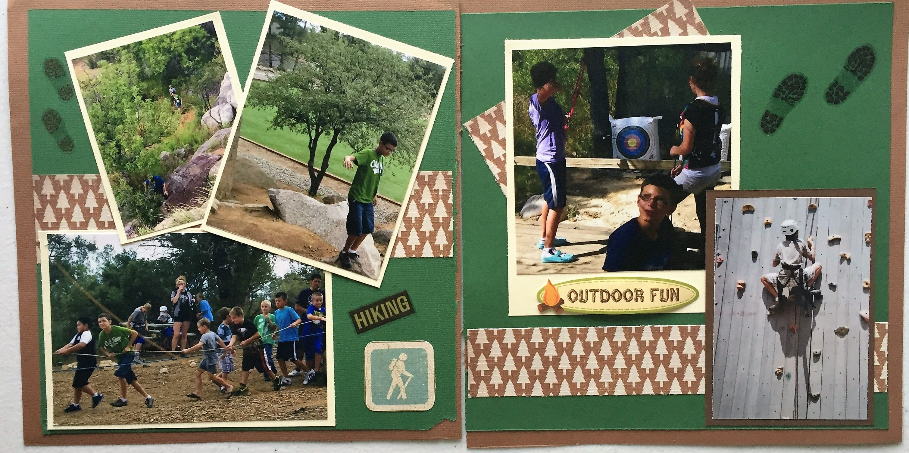 Hiking and other other outdoor activities. #summercamp #camp #churchcamp #scrapbook #layout #hiking #outdoors #rockwall