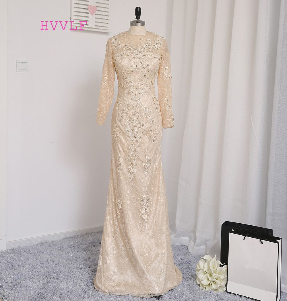 Hvvlf champagne evening dresses mermaid long sleeves lace