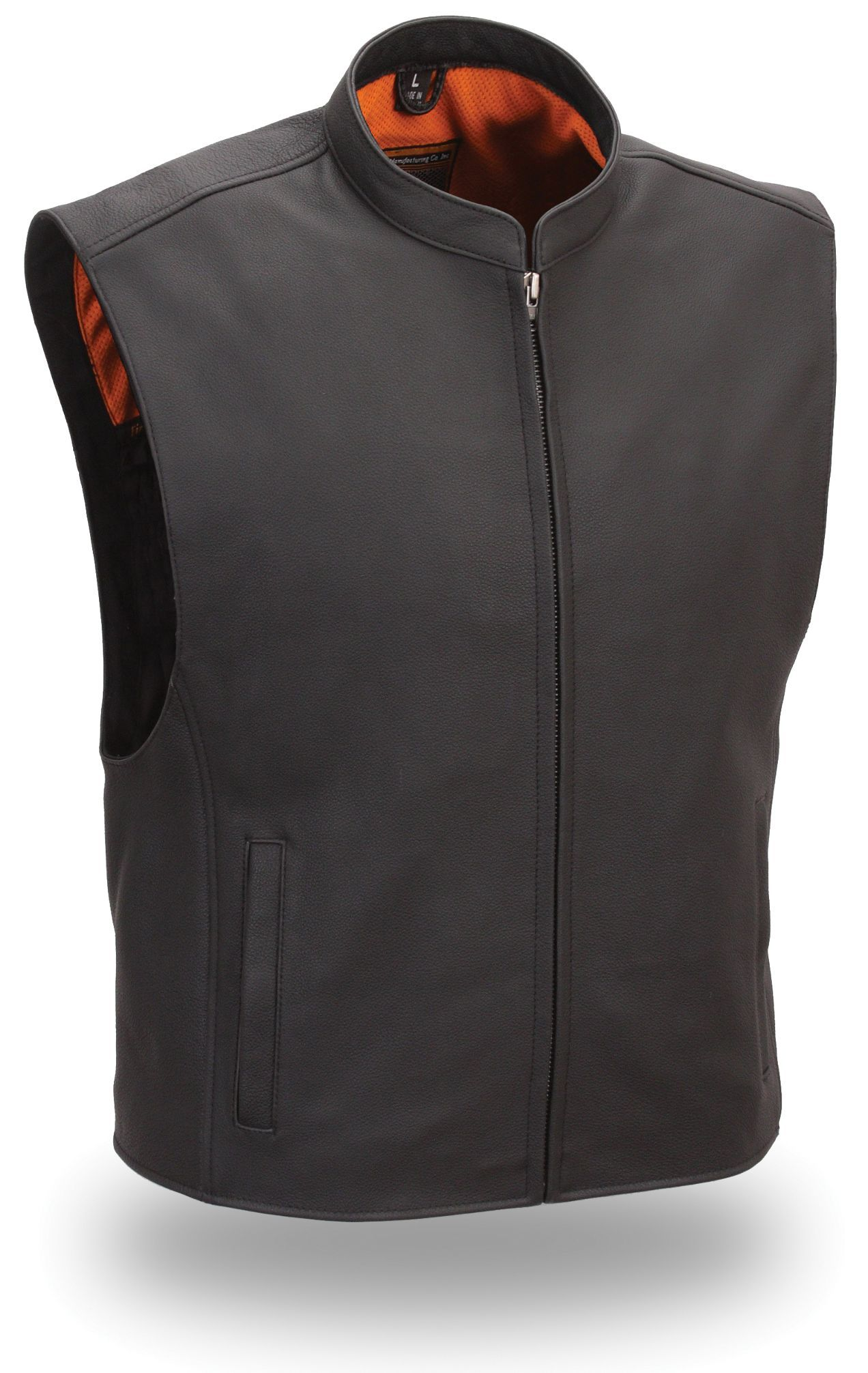 Mens Zip Front Club Patch Leather Motorcycle Vest by First