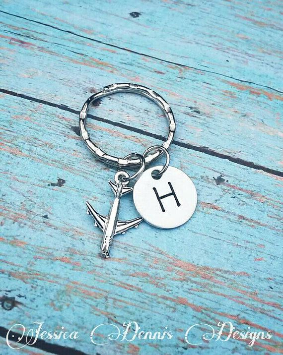 Airplane Keychain Pilot Gift Flight Airlines Worker Gift Personalized Hand Stamped Initial Keychain Co Pilot Pilot Gifts Keychain Hand Stamped