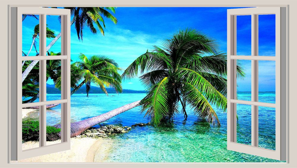 Huge 3d Window Wall Art Sticker Tropical Beach Decal Vinyl