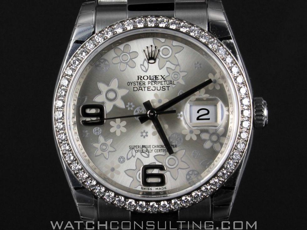 c62176235b33 Vente et location de montres de luxe d occasion - ROLEX DATEJUST FLOWER