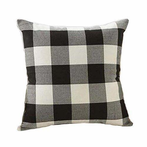 Black White Retro Checkers Plaids Linen Square Throw Pillow Cover