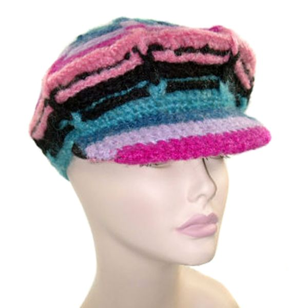 Fair Trade 100/% Cotton Knit Beanie Winter Hat Funny Stripey One Size Colourful