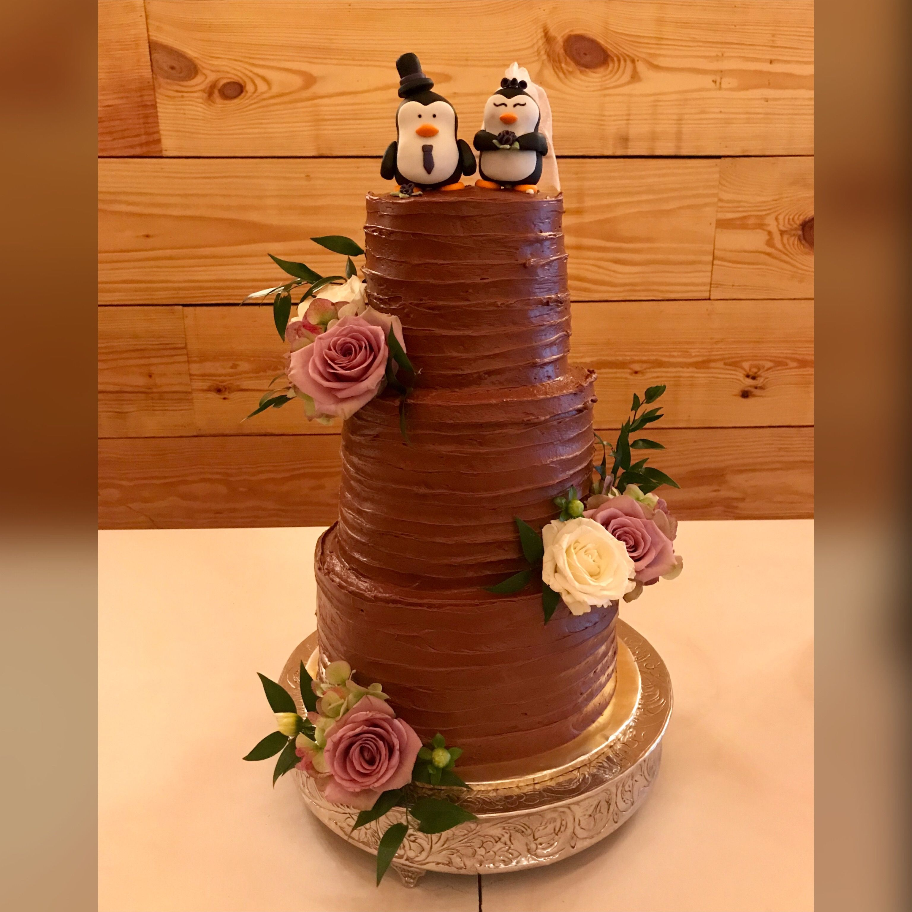 Yellow Cake With Chocolate Frosting And Fondant Penguin Wedding