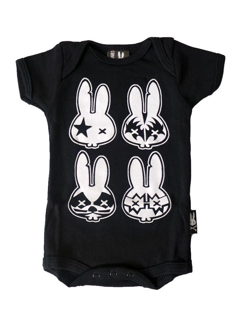 SIX BUNNIES papa Tatouage Robe de bébé Alternative Kids Clothes goth rock metal cadeau
