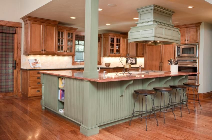 Best Kitchen Colors Gallery Lovetoknow Green Kitchen Island Country Style Kitchen Kitchen Island Different Colour