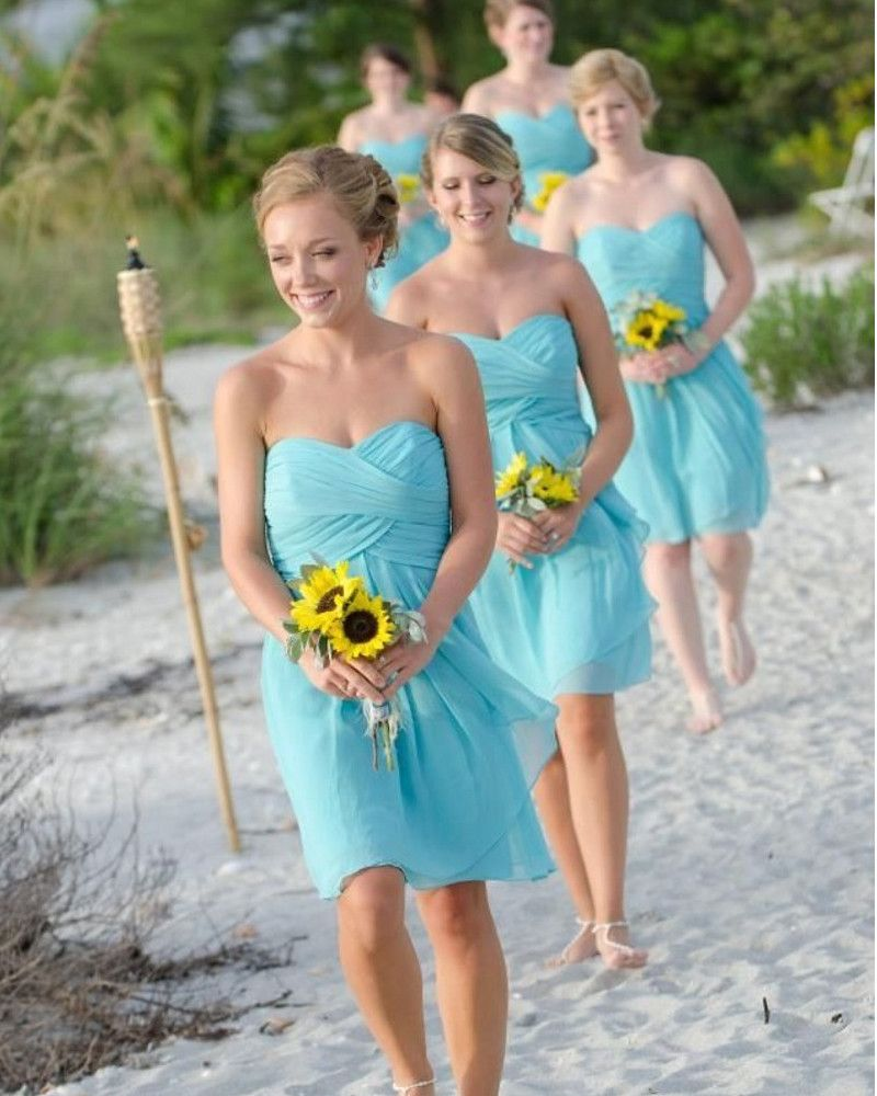 High quality sky blue and coral short cheap bridesmaid dresses under