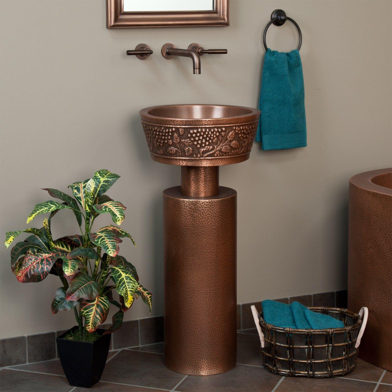 Grape Hammered Copper Pedestal Sink Bathroom Sinks Bathroom In 2020 Pedestal Sink Modern Pedestal Sink Pedestal Sinks