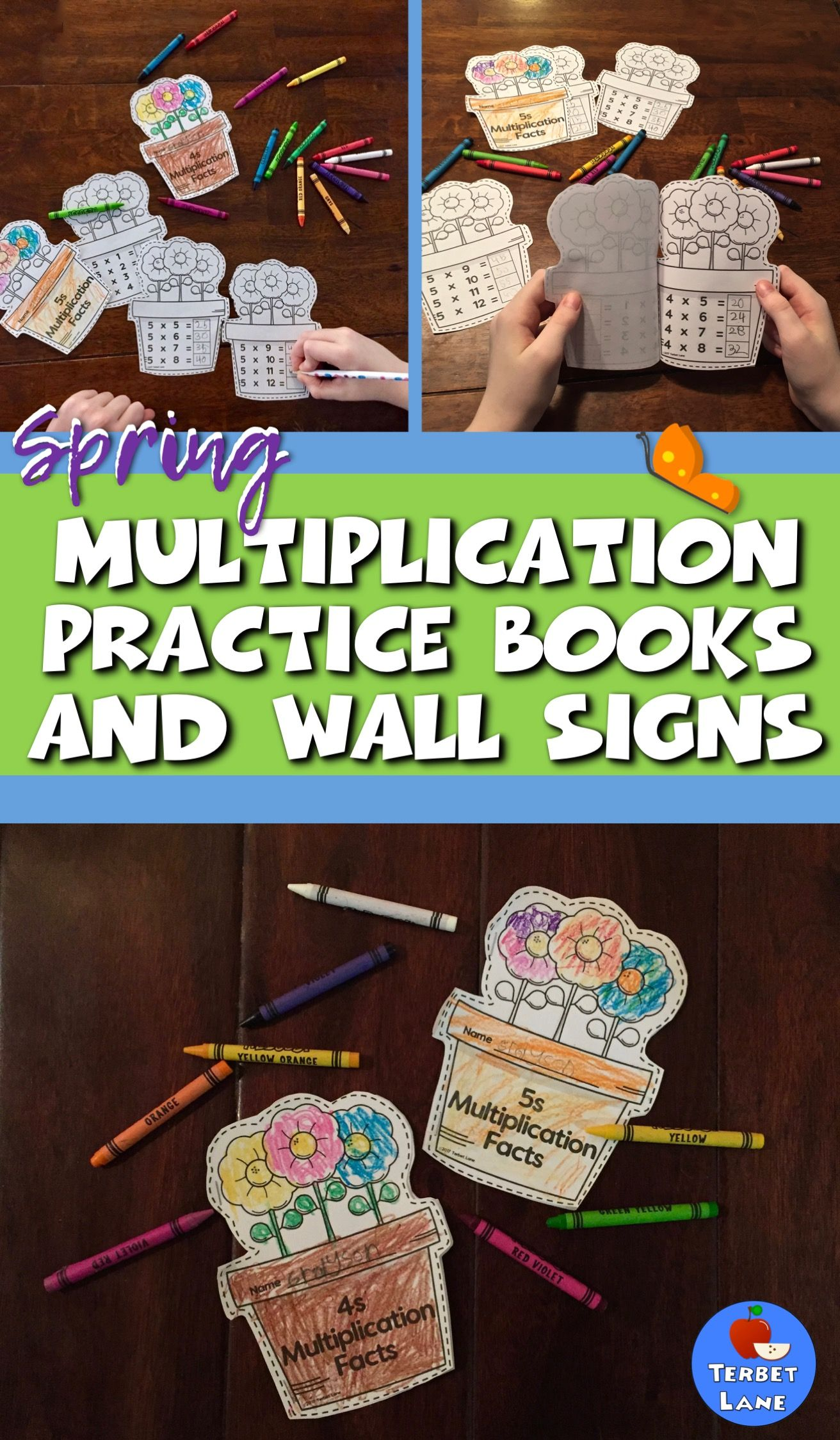 Spring Themed Multiplication Facts Practice Books and Wall Signs ...