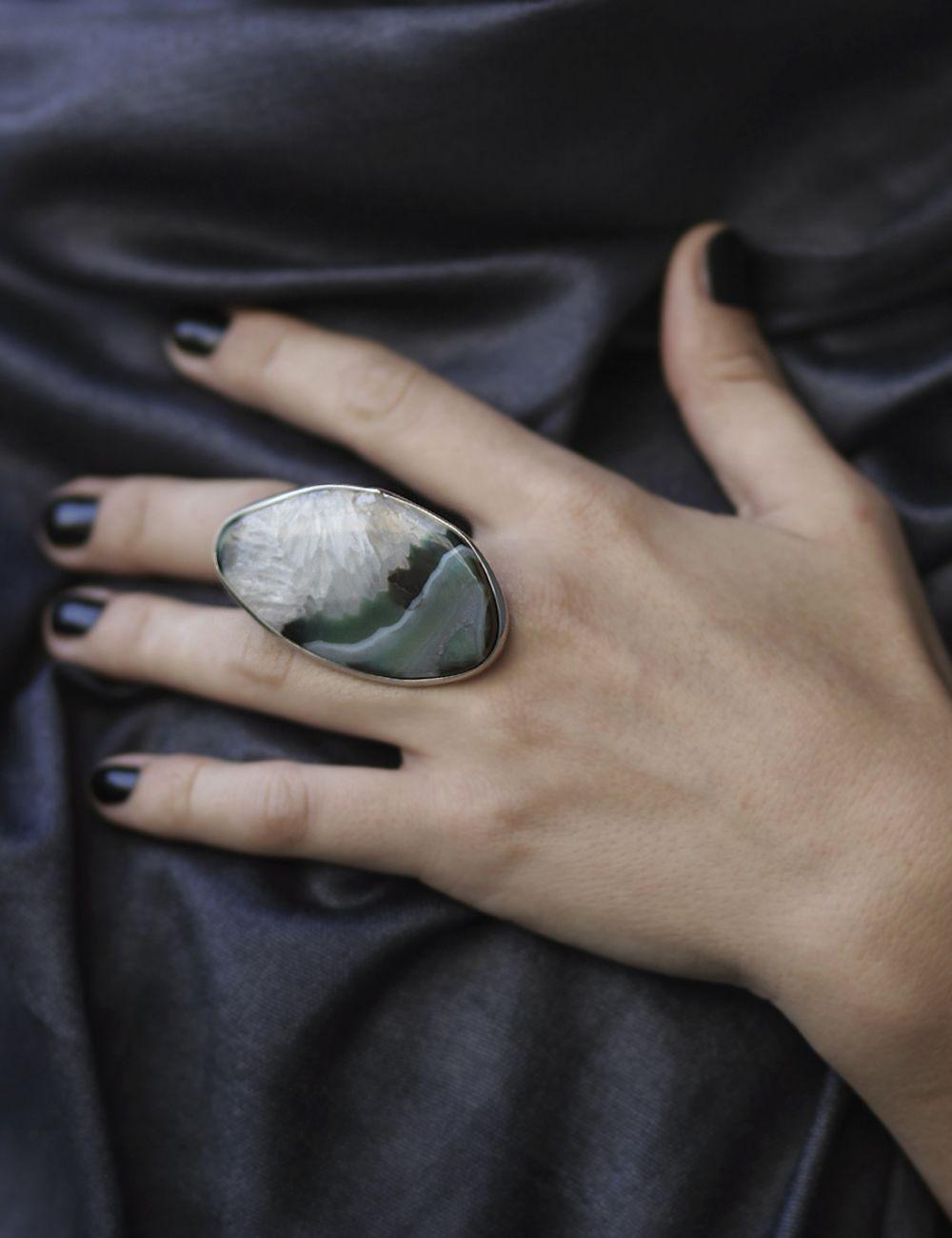 Gemstone Designer Ring Silver Ring Fine  silver Women Ring Large Women ring, Chunky Statement Women Ring Rutile Quartz Wide Ring