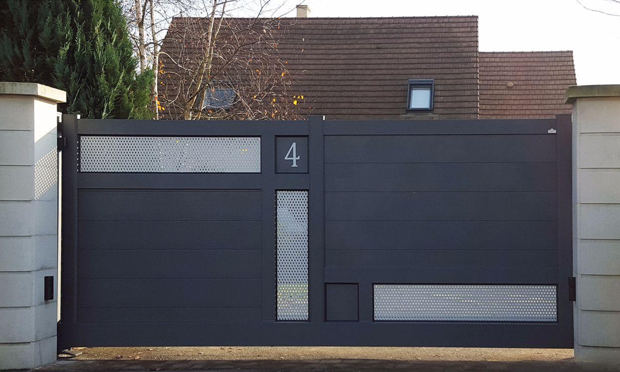 Portail Alu Impulsion Portail In 2019 House Gate Design Main Entrance Door Design