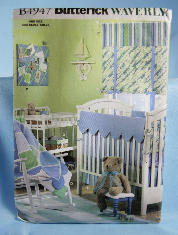 Baby Room Sewing Pattern Butterick Waverly B4947 Crib Sheet Bumpers ...
