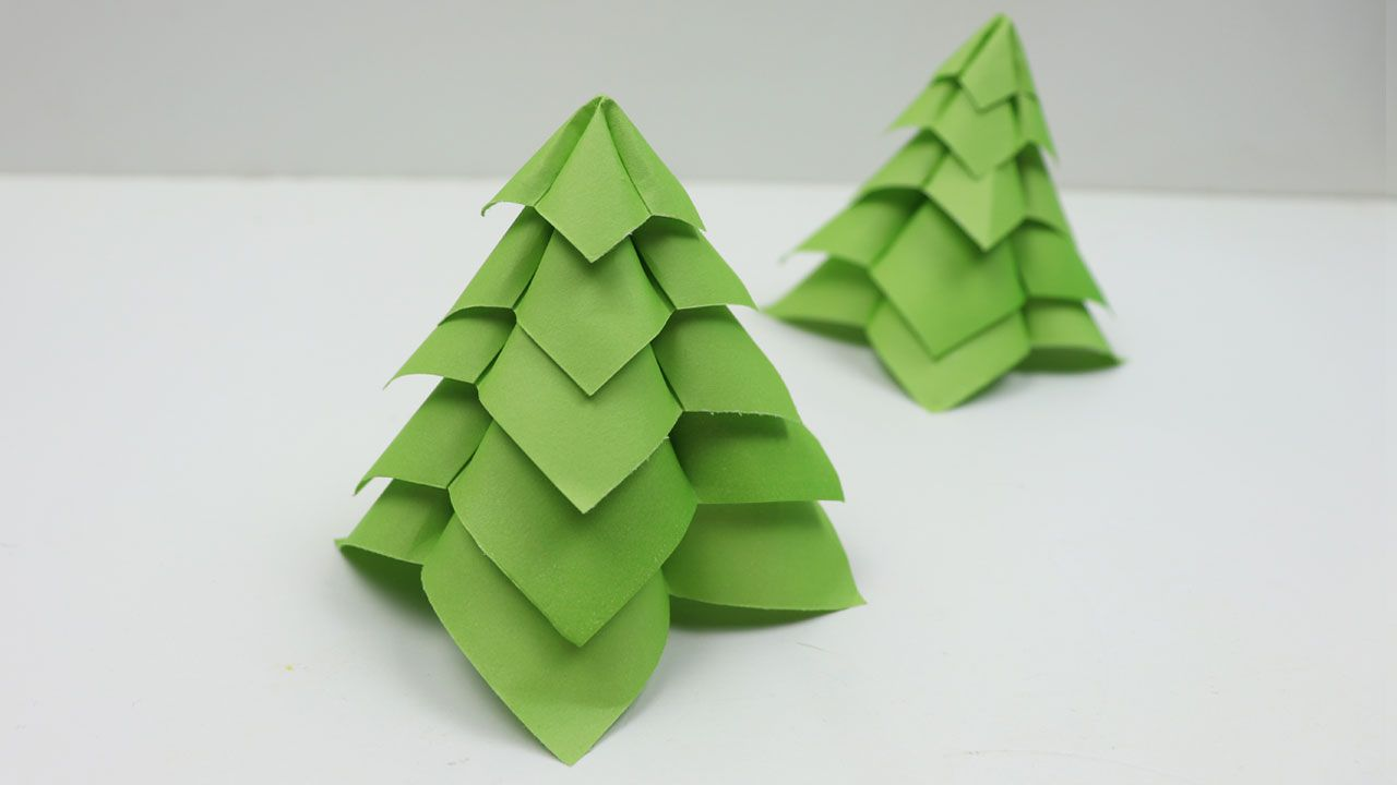 How To Make Diy Quick And Easy 3d Origami Christmas Paper Tree Tutorial Xmas Decoration Ideas 2018 T Diy Christmas Paper Christmas Origami Christmas Paper