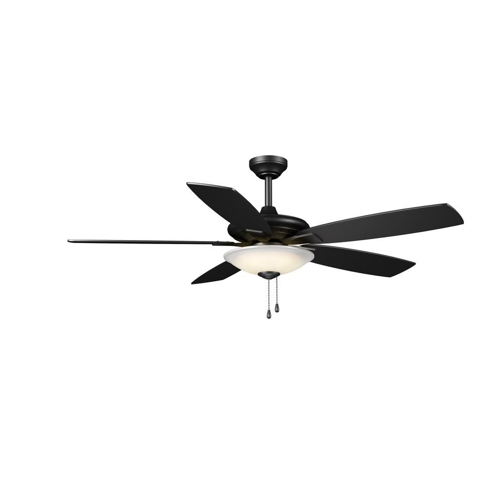 Integrated Led Indoor Low Profile Matte Black Ceiling Fan With
