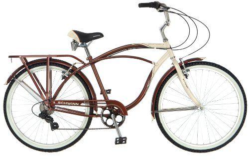 Awesome Schwinn Men's Sanctuary 7-Speed Cruiser Bicycle (26-Inch Wheels), Cream/Copper, 18 -Inch
