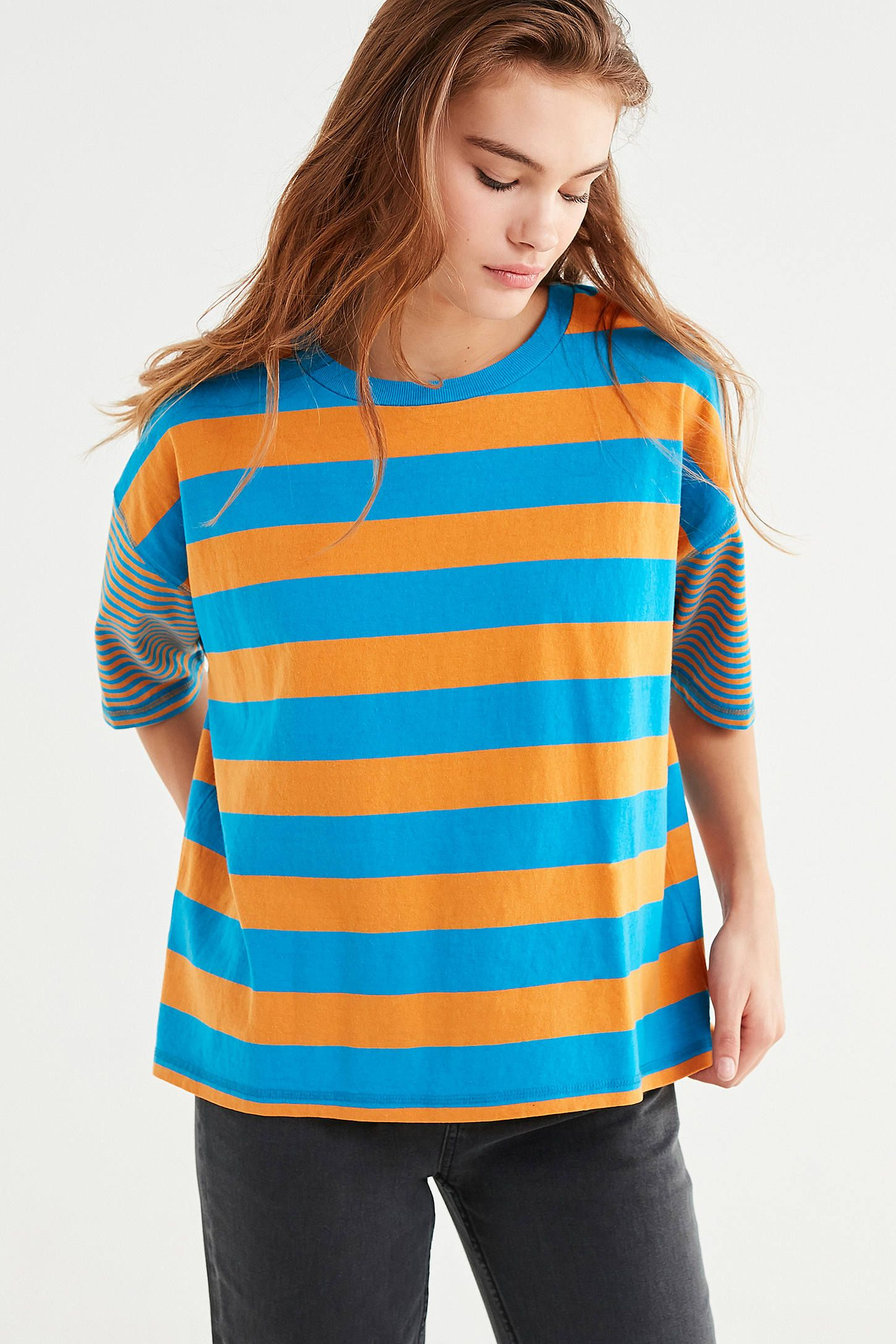 b5540d6392b56 BDG Boston Oversized Striped Ringer Tee at Urban Outfitters. LOVE these  colors