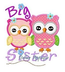 Big Sister Owls Applique - 3 Sizes! | Birds and Birdhouses | Machine Embroidery Designs | SWAKembroidery.com Dollar Applique