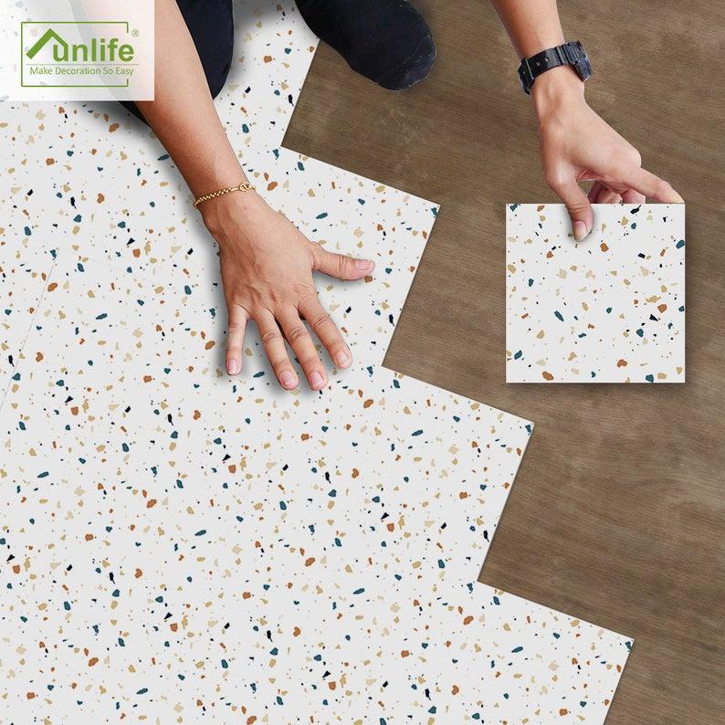 Funlife Coloured Terrazzo Peel And Stick Floor Tile Etsy Peel And Stick Floor Terrazzo Flooring Tile Floor