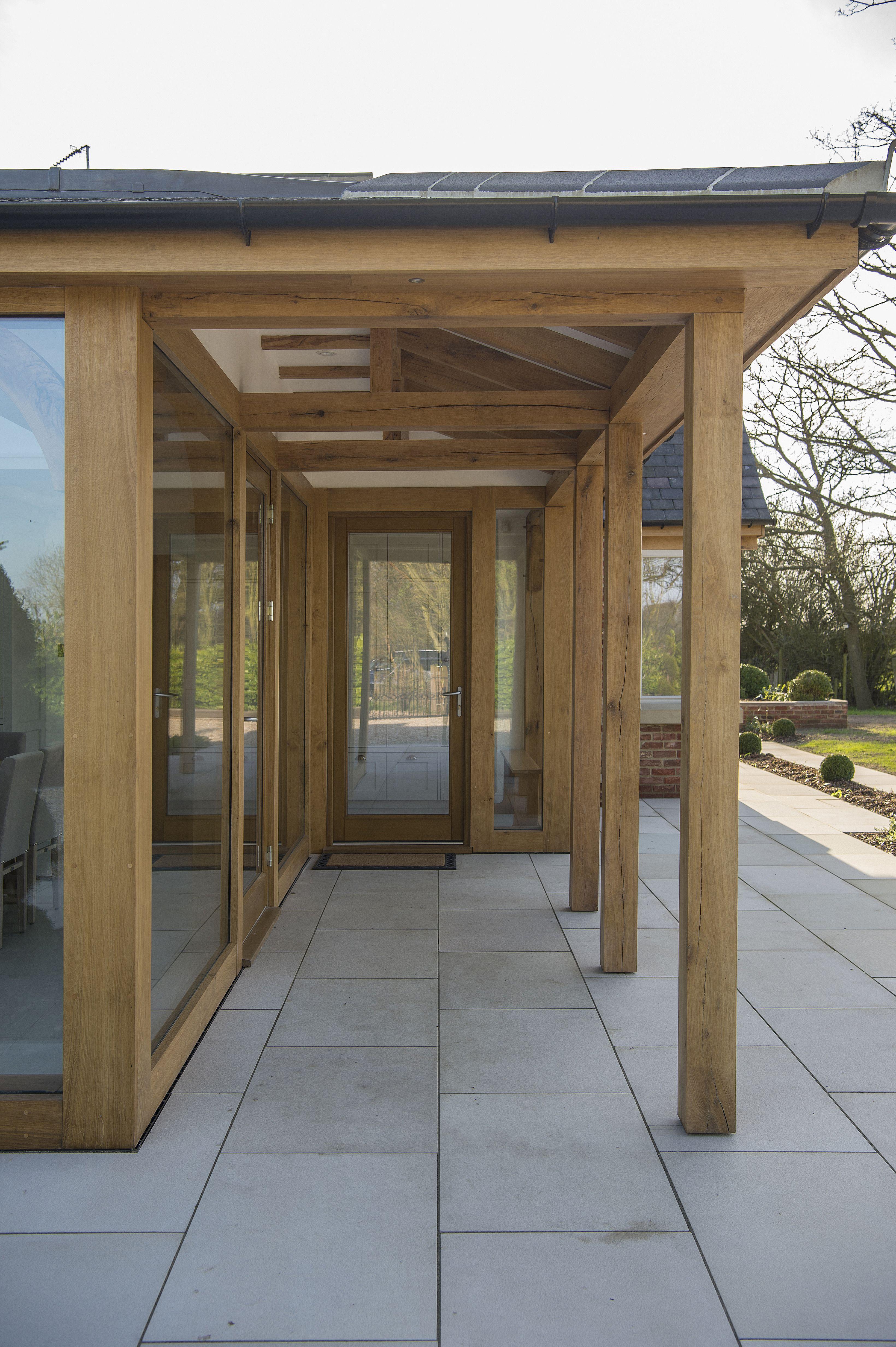 Oak walkway on the side of oak extension | Driveway design ...