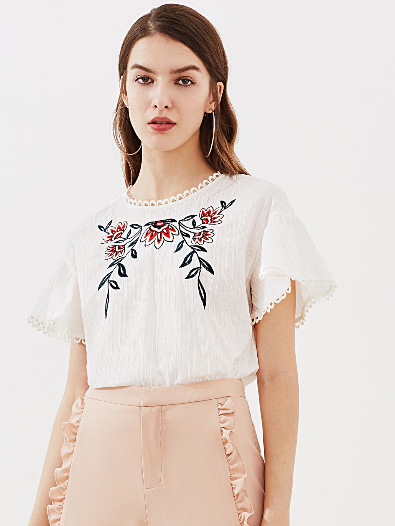a01d20274034d Shop Lace Trim Keyhole Back Flower Embroidered Textured Top online. SheIn  offers Lace Trim Keyhole Back Flower Embroidered Textured Top   more to fit  your ...