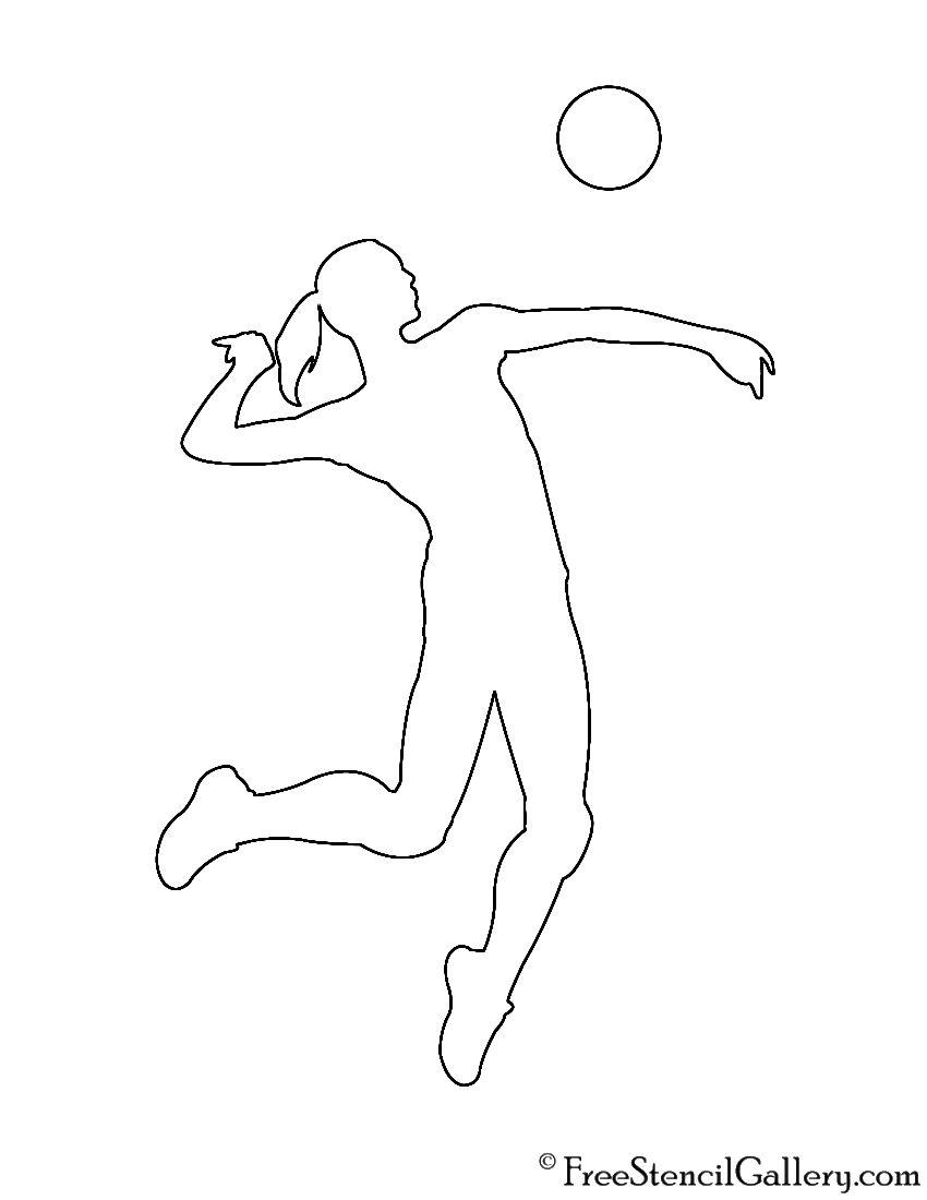 Volleyball Hitter Silhouette Stencil Volleyball Hitter Silhouette Stencil Volleyball Silhouette