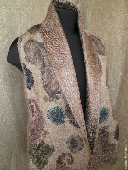 Cream and copper felt scarf