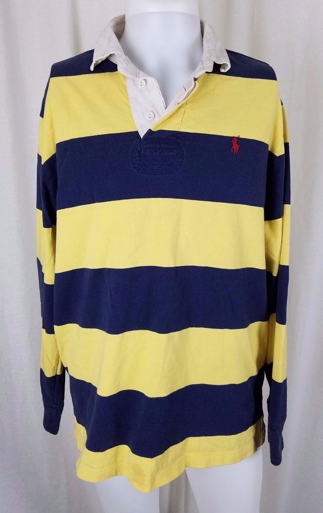 a63e1b4e04 Men's Vintage Polo Ralph Lauren Blue & Yellow Stripes Rugby Shirt L Long  Sleeve | Clothing, Shoes & Accessories, Men's Clothing, Casual Shirts |  eBay!