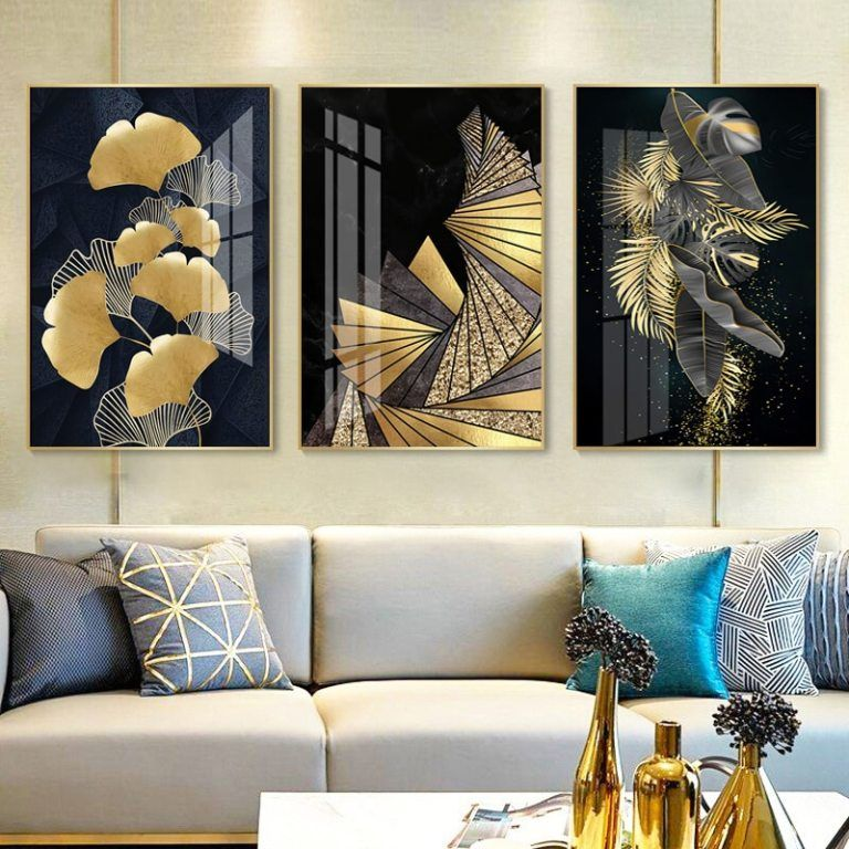 Nordic Decoration Golden Leaf Canvas Abstract Painting Wall Art Poster And Print Decorative Pictures For Living Room Home Decor In 2021 Canvas Wall Decor Decorative Pictures Living Room Pictures Wall art prints living room