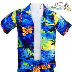 dcbcc8a1e20 Boys Hawaiian Shirt | Blue Sunset Luau Party Surf luau party ...
