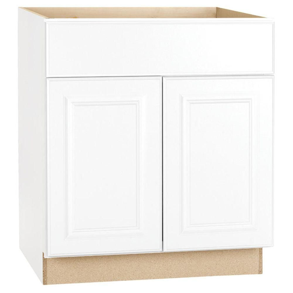Hampton Bay Hampton Assembled 30 In X 34 5 In X 24 In Base Kitchen Cabinet With Ball Bearing Drawer Glides In Satin White Kb30 Sw Home Depot Kitchen Base Cabinets Assembled Kitchen Cabinets