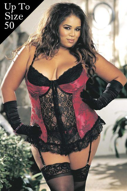 Plus Size Sexy Jacquard Long Line Bustier Lingerie 40, 42, 44, 46, 48, 50 #bemine #giftforher