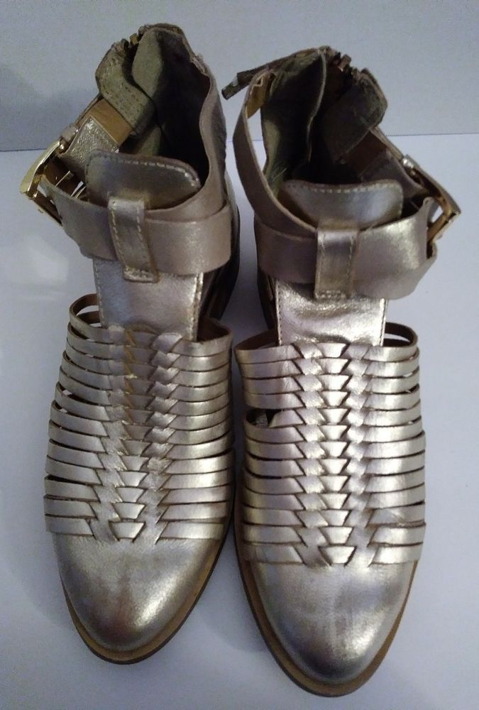 dd2cf45b6af House Of Harlow 1960 Women s gold cage Leather Ankle Boots size 36   HouseofHarlow1960  AnkleBoots