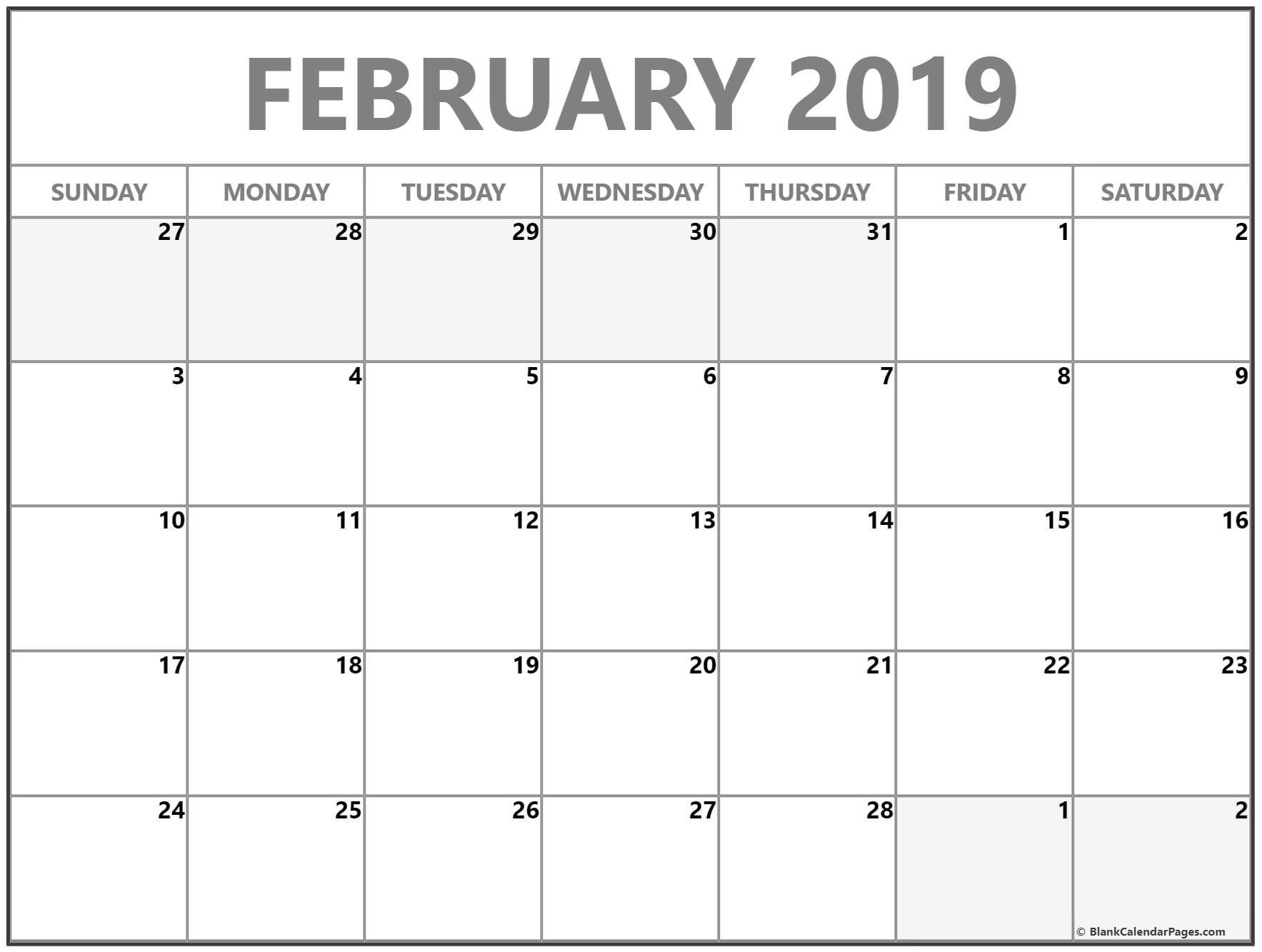 February Calendar 2019 Grid 8 free february 2019 a4 calendar download calendar 2018 free