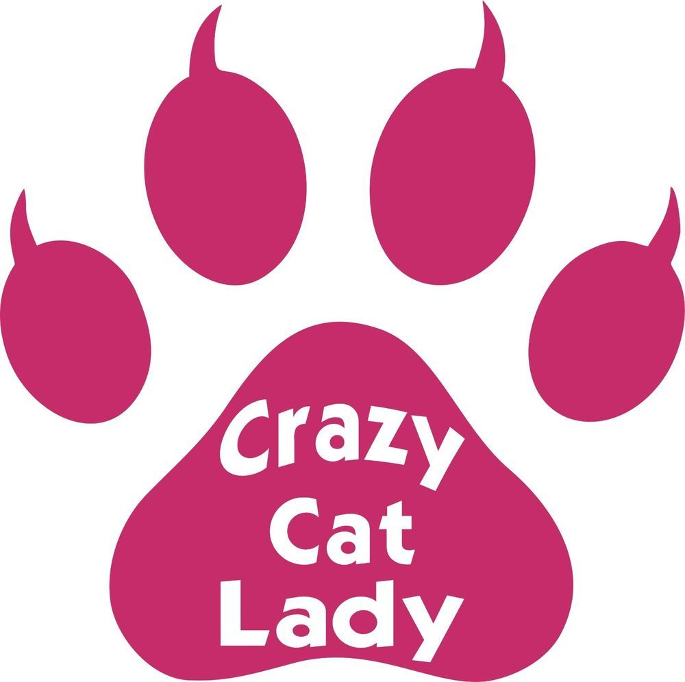 Funny Crazy Cat Lady Animal Paw Print Truck Window Laptop Vinyl ...