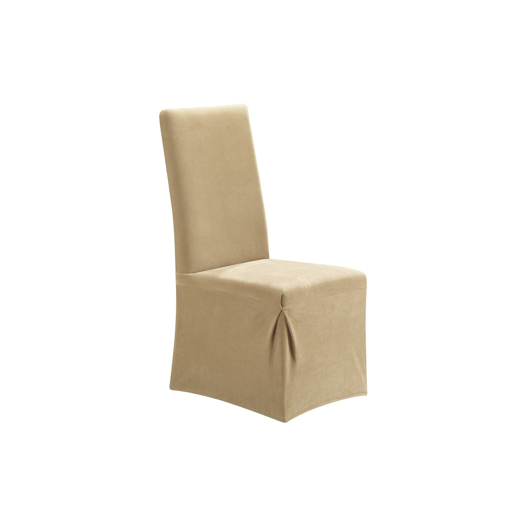 Stretch Pique Long Dining Room Chair Slipcover Cream Ivory Magnificent Stretch Covers For Dining Room Chairs Design Inspiration