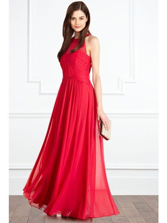 3227be68300c93 Elegante geraffte Abendkleider A-Linie Chiffon Lang Rot | Kleider ...