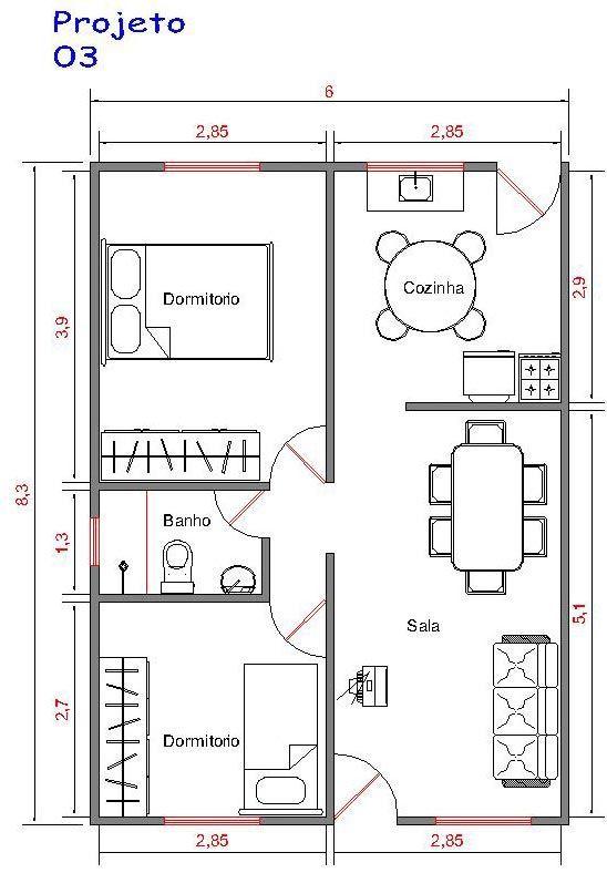 Projeto 3 50m casap pinterest smallest house for Apartment design 70m2