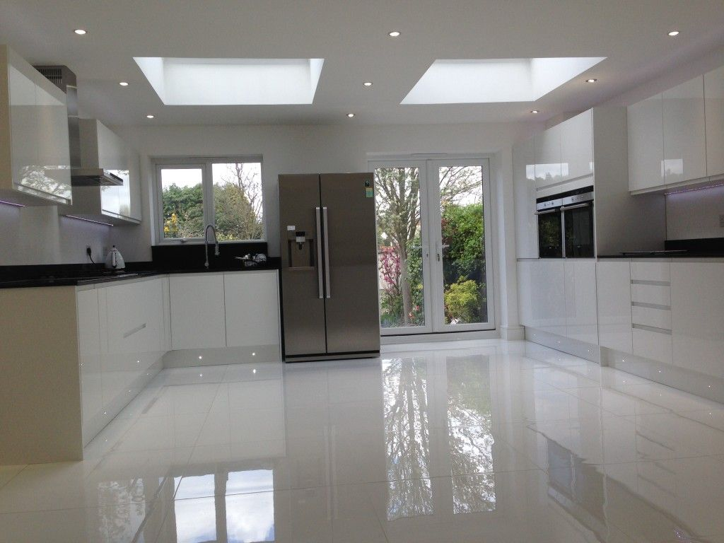Using high gloss tiles for kitchen is good algarve for White floor tile kitchen