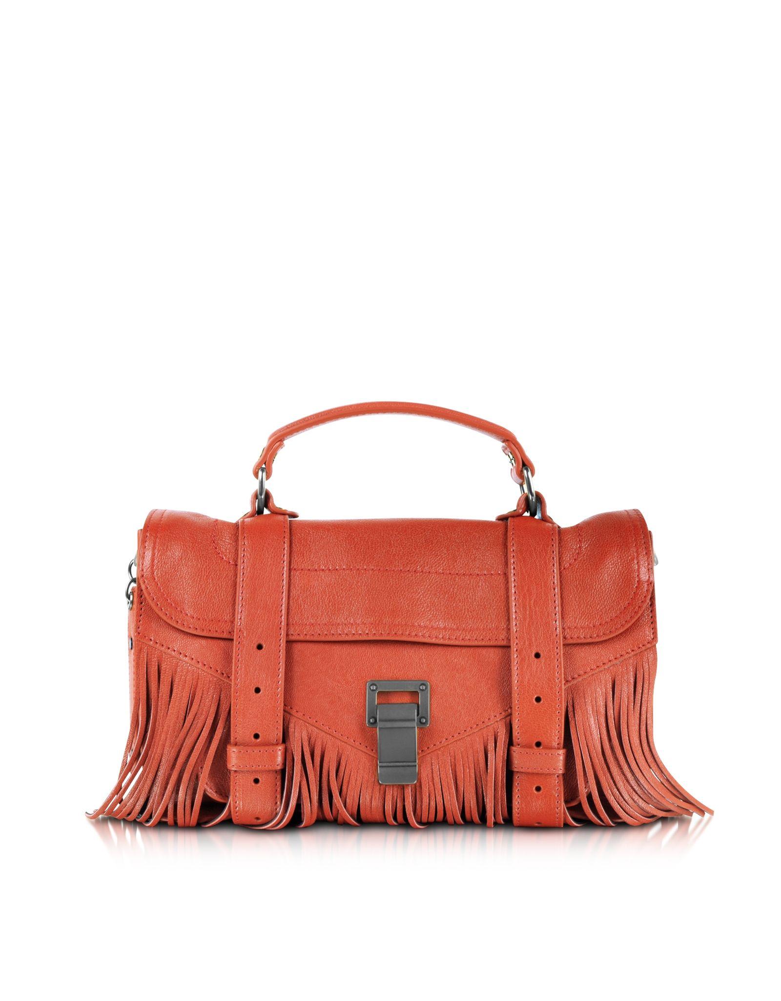 611a6a44e6da Proenza Schouler PS1 Fringe Tiny Dark Orange Crossbody Bag at FORZIERI