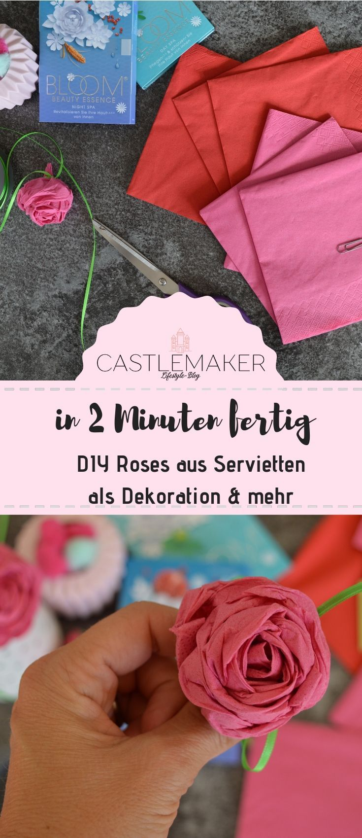 Photo of BLOOM BEAUTY ESSENCE® experiences and DIY roses from napkins / competition «CASTLEMAKER Lifestyle Blog