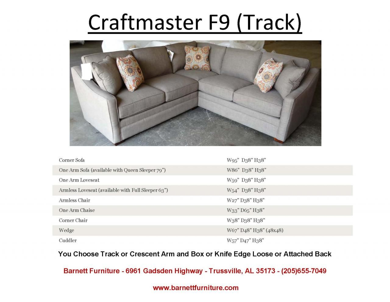 Admirable Craftmaster F9 Sectional With Track Arm You Choose The Pabps2019 Chair Design Images Pabps2019Com