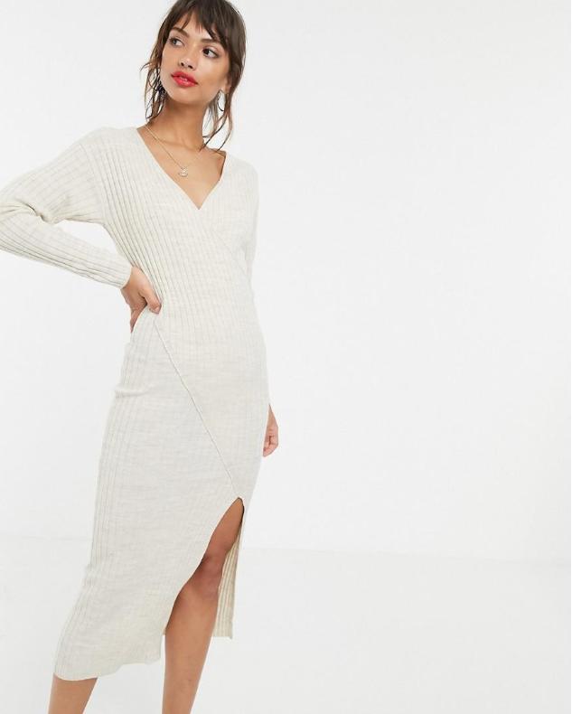11y077 Xdb Bezowa Sukienka Dzianinowa Xs 8798866204 Oficjalne Archiwum Allegro Ribbed Midi Dress Asos Designs Midi Dress