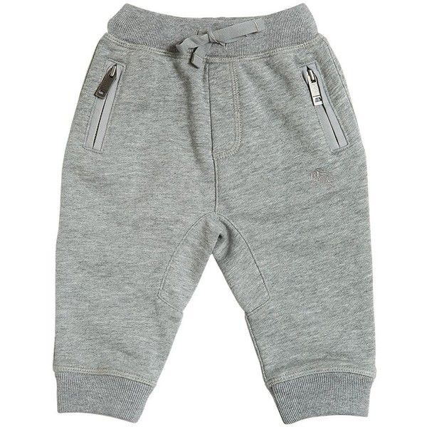 Burberry Kids-boys Cotton Sweatpants (900 NOK) ❤ liked on Polyvore featuring grey