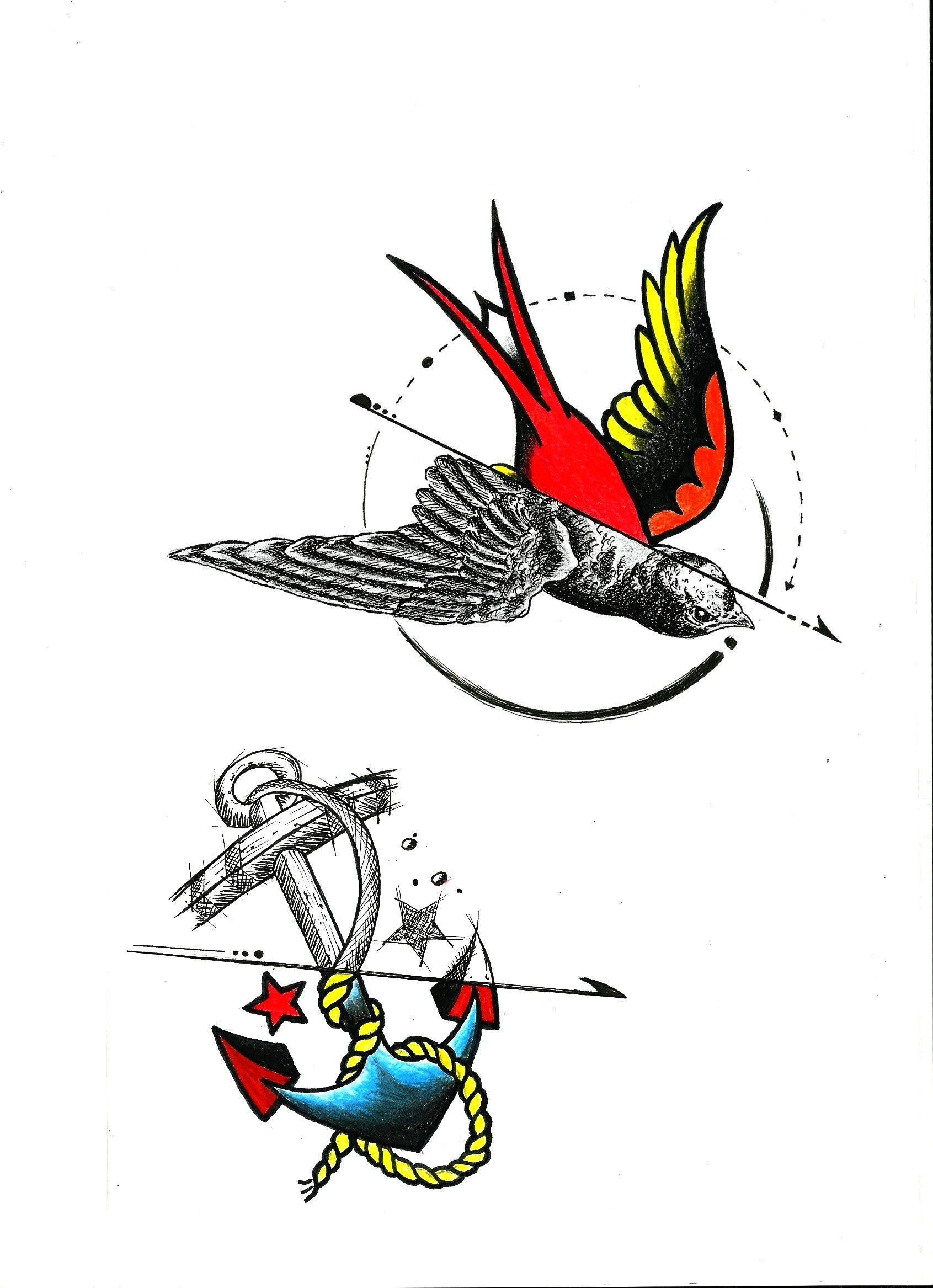 Custom Sketch, Tattoo, Anchor, Black and White Art
