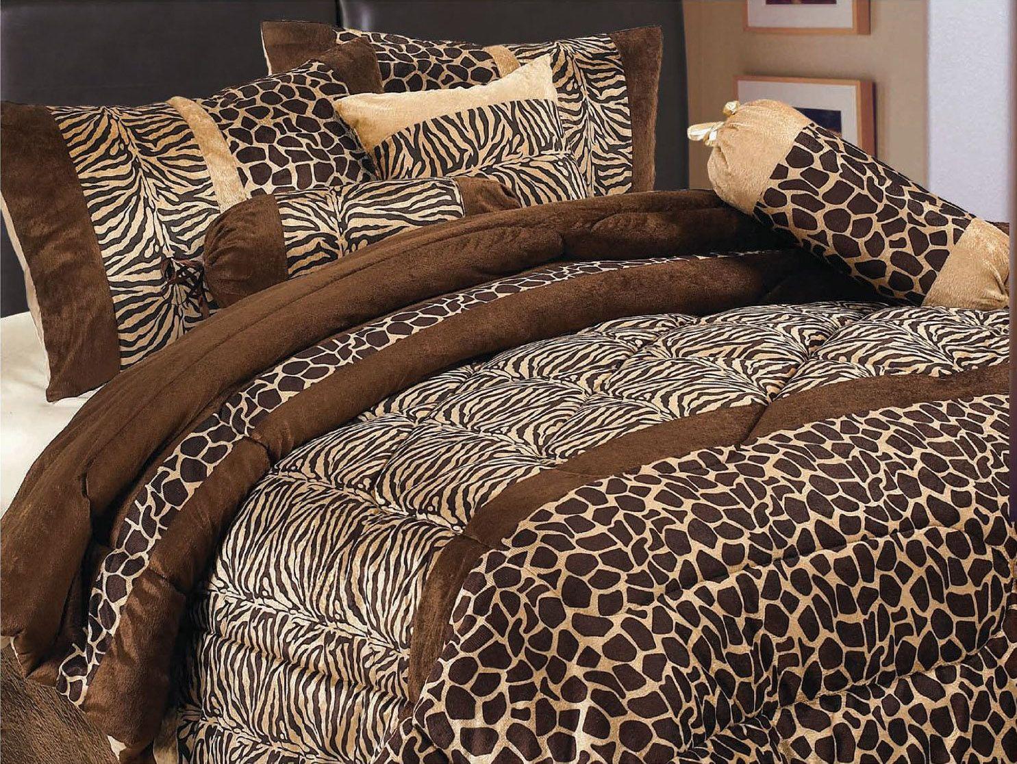 7 Piece Safari Zebra Giraffe Print Brown Micro Fur Comforter