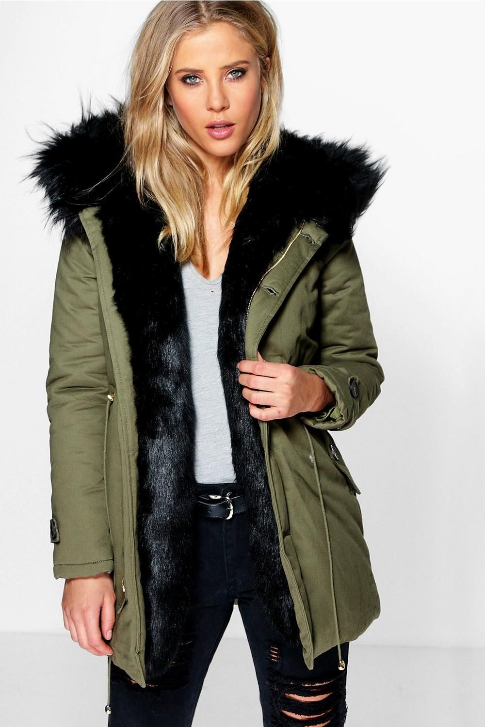 Boutique Maria Faux Fur Trim Parka | Fur trim, Parka and Fur