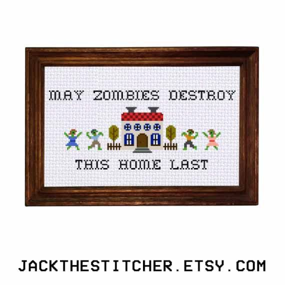Photo of PDF ONLY May Zombies Destroy This Home Last Modern Subversive Cross Stitch Template Pattern Instant PDF Download