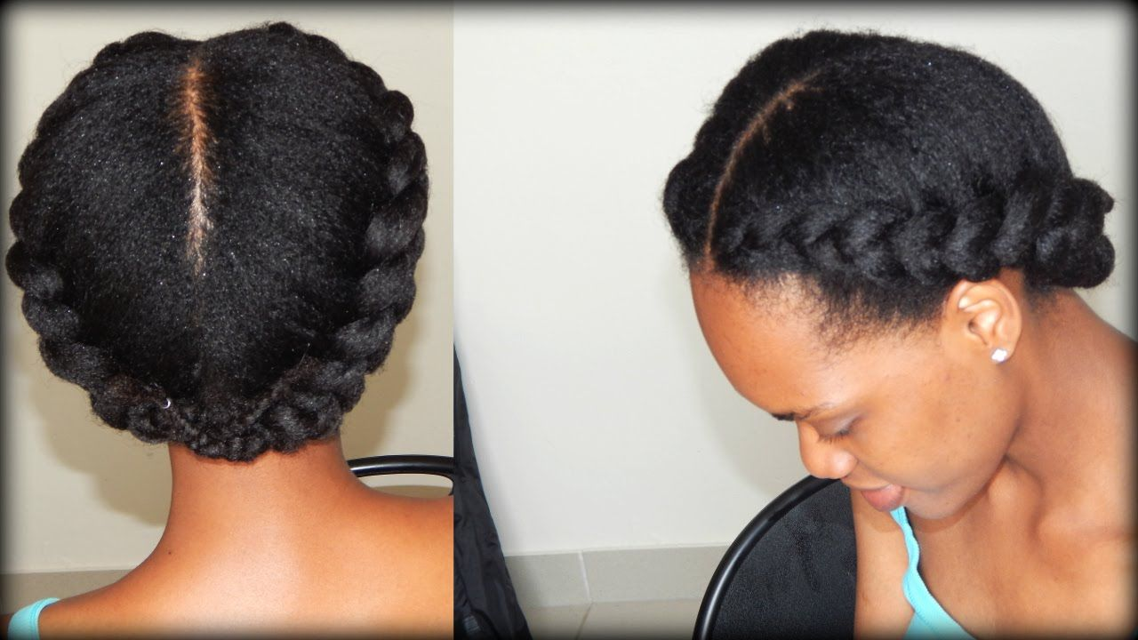 Natural Hair 2 Side Braids 4b 4c Hair Youtube With Images